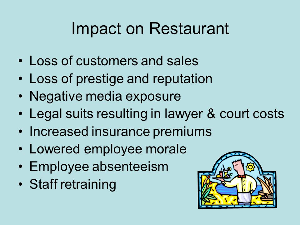 Impact on Restaurant Loss of customers and sales Loss of prestige and reputation Negative media exposure Legal suits resulting in lawyer & court costs