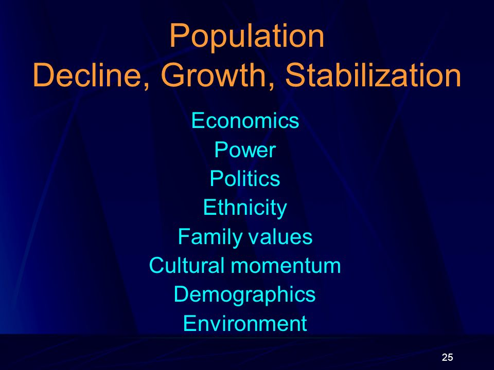 25 Population Decline, Growth, Stabilization Economics Power Politics Ethnicity Family values Cultural momentum Demographics Environment