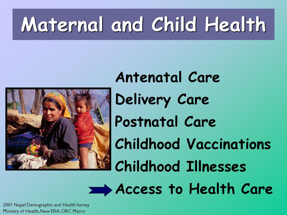 2001 Nepal Demographic and Health Survey Ministry of Health, New ERA, ORC Macro Maternal and Child Health Antenatal Care Delivery Care Postnatal Care Childhood Vaccinations Childhood Illnesses Access to Health Care