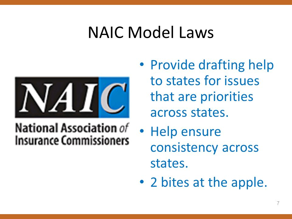 NAIC Model Laws Provide drafting help to states for issues that are priorities across states. Help ensure consistency across states. 2 bites at the ap