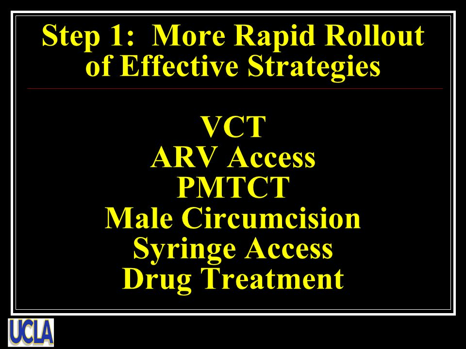 Step 1: More Rapid Rollout of Effective Strategies VCT ARV Access PMTCT Male Circumcision Syringe Access Drug Treatment
