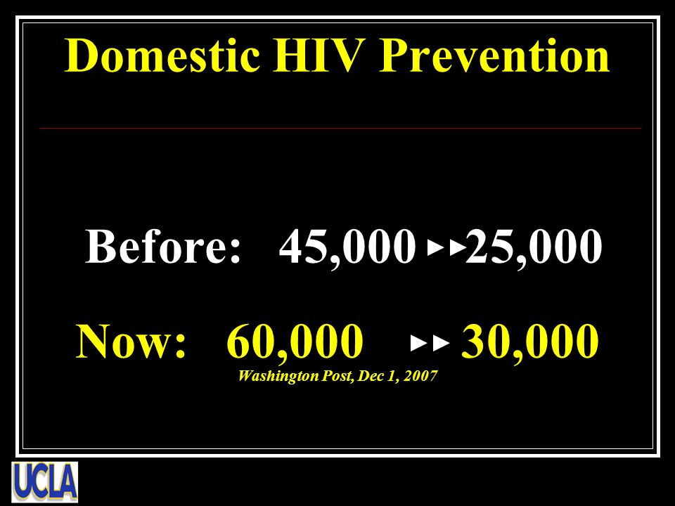 Domestic HIV Prevention Before: 45,000 25,000 Now: 60,000 30,000 Washington Post, Dec 1, 2007