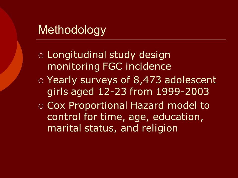 Methodology Longitudinal study design monitoring FGC incidence Yearly surveys of 8,473 adolescent girls aged 12-23 from 1999-2003 Cox Proportional Hazard model to control for time, age, education, marital status, and religion