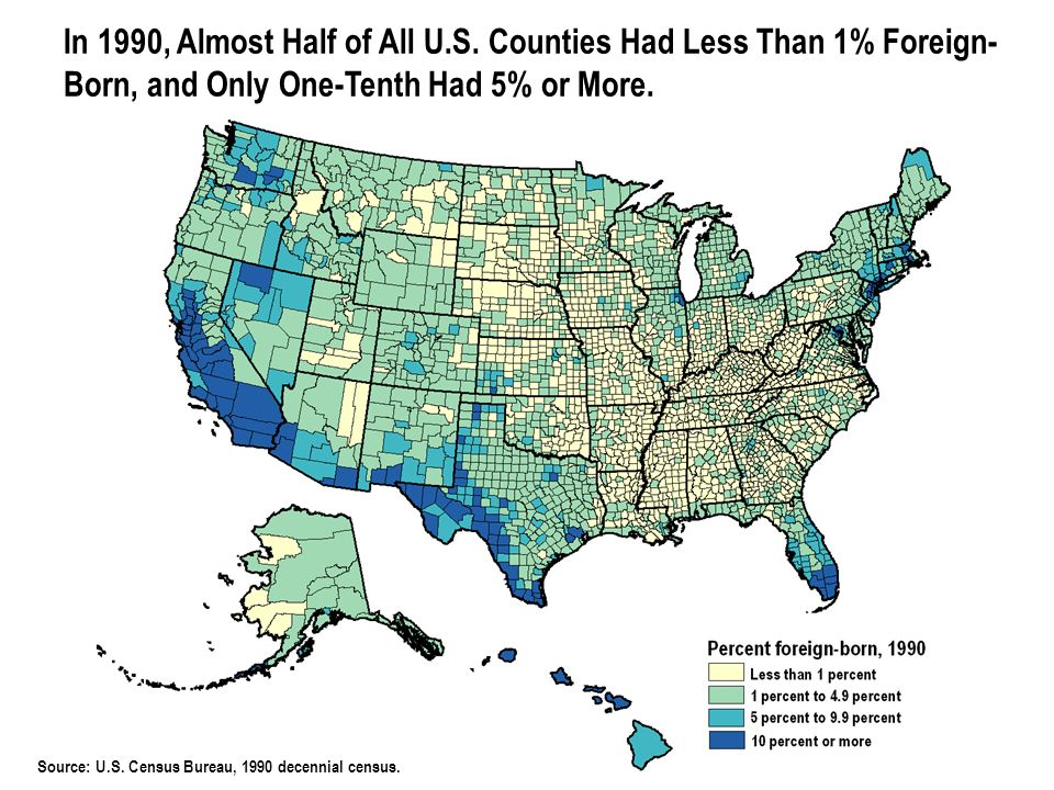 © 2006 POPULATION REFERENCE BUREAU Source: U.S. Census Bureau, 1990 decennial census. In 1990, Almost Half of All U.S. Counties Had Less Than 1% Forei