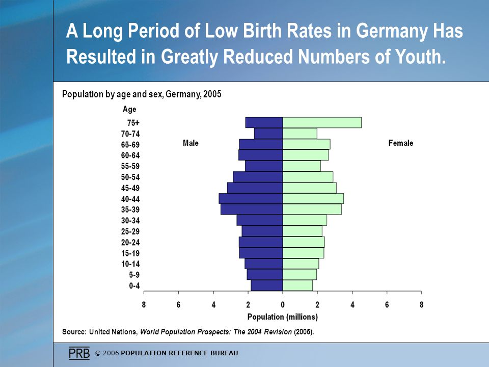 © 2006 POPULATION REFERENCE BUREAU Source: United Nations, World Population Prospects: The 2004 Revision (2005). Population by age and sex, Germany, 2