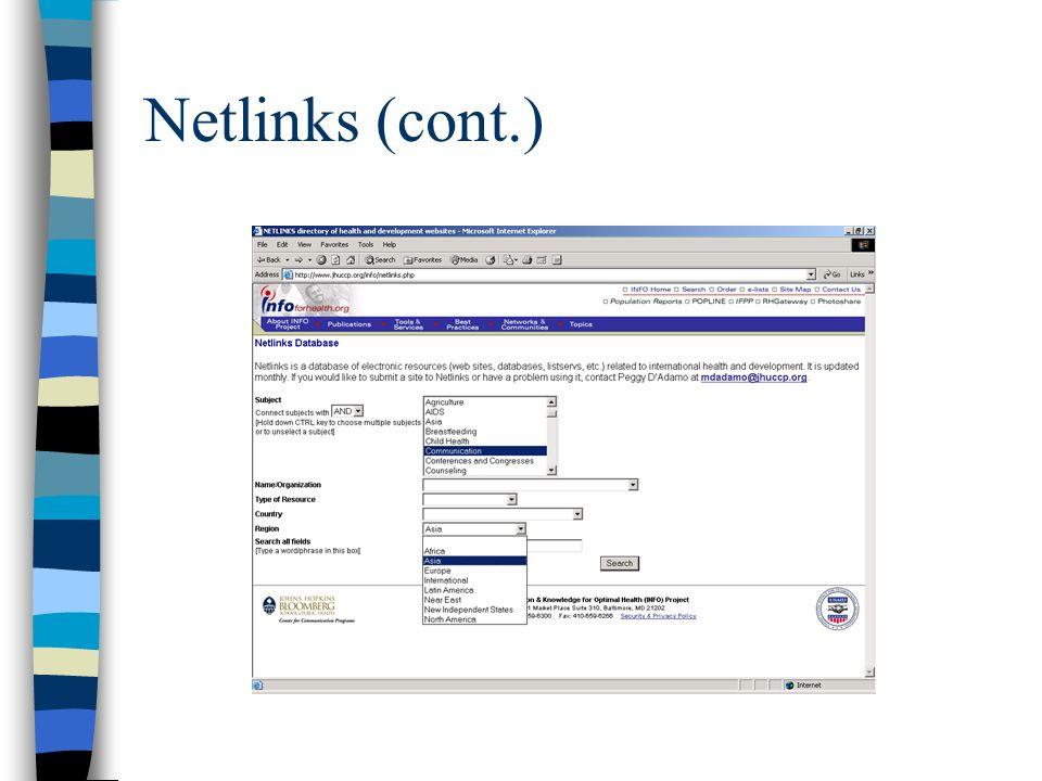 Netlinks (cont.)