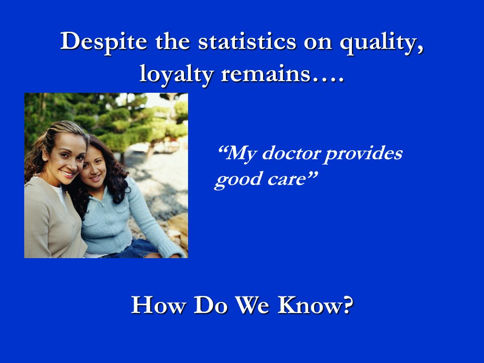 Despite the statistics on quality, loyalty remains…. My doctor provides good care How Do We Know?