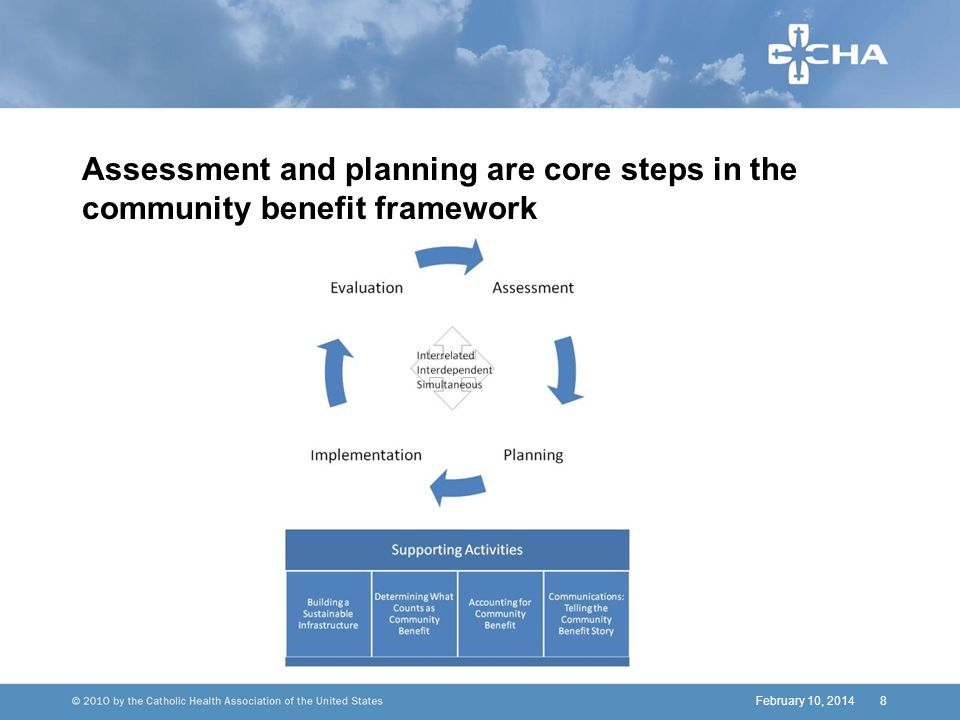 February 10, 20148 Assessment and planning are core steps in the community benefit framework