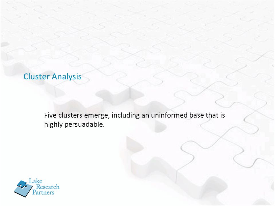 Cluster Analysis Five clusters emerge, including an uninformed base that is highly persuadable.