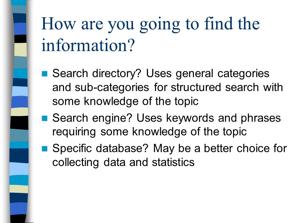 How are you going to find the information. Search directory.