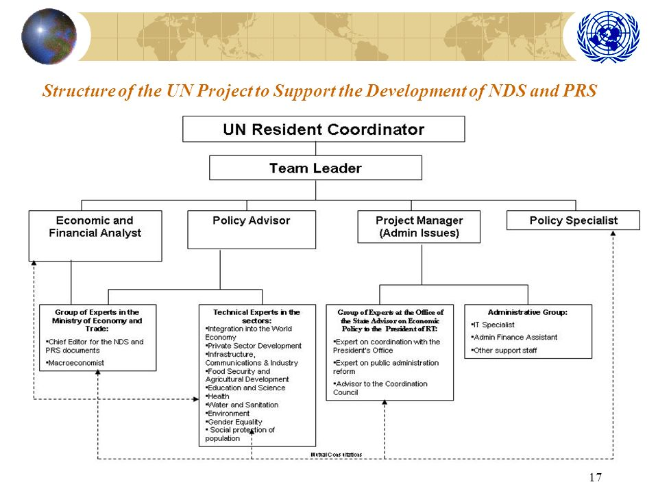 17 Structure of the UN Project to Support the Development of NDS and PRS