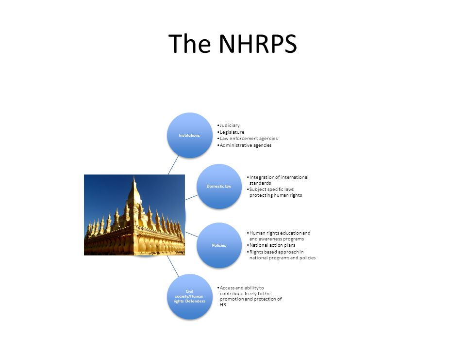 The NHRPS Institutions Judiciary Legislature Law enforcement agencies Administrative agencies Domestic law Integration of international standards Subj