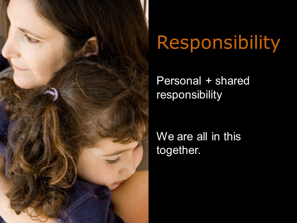 Personal + shared responsibility We are all in this together. Responsibility