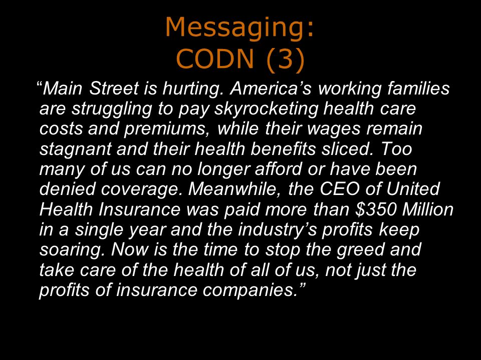 Messaging: CODN (3) Main Street is hurting.
