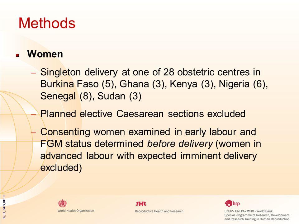 05_HB_Dakar_DEC12 Methods Women – Singleton delivery at one of 28 obstetric centres in Burkina Faso (5), Ghana (3), Kenya (3), Nigeria (6), Senegal (8