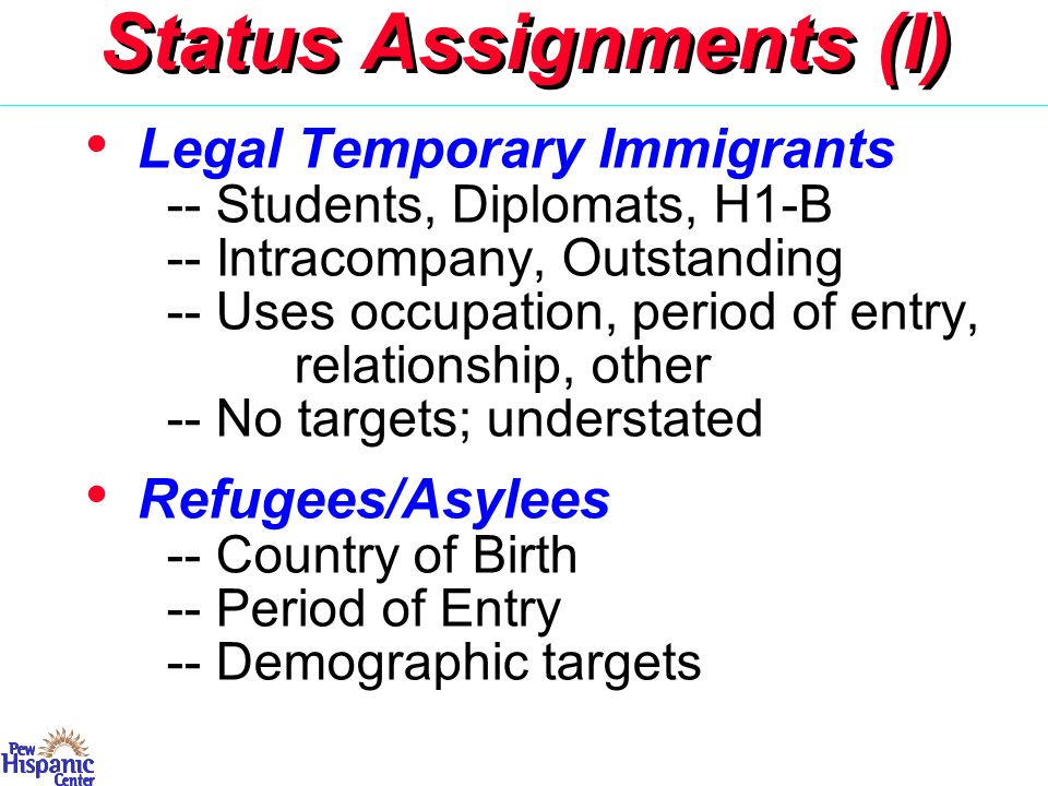 Status Assignments (II) Naturalized Citizens -- In US = 6 years, MexicoPotential illegal or natz.