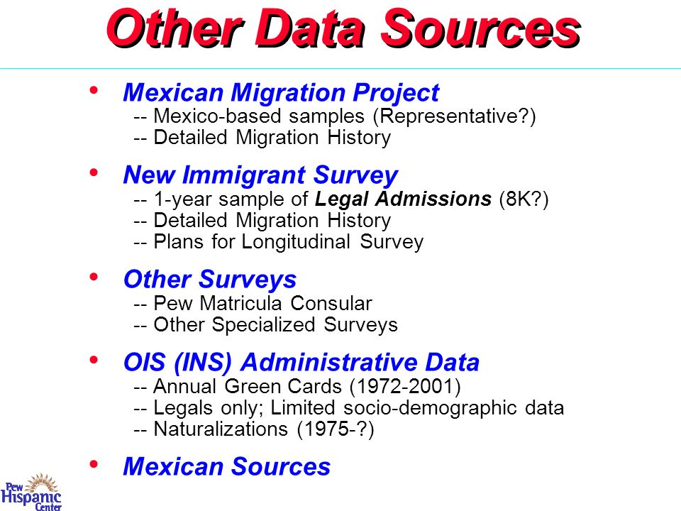 Other Methods/Data ACS/CPS Data on Year of Arrival -- CPS has only 2+ year intervals -- ACS has single years and larger sample -- Specialized study of year of arrival Mexican Data Sources -- Various Surveys & Census -- Departure Survey (ca.