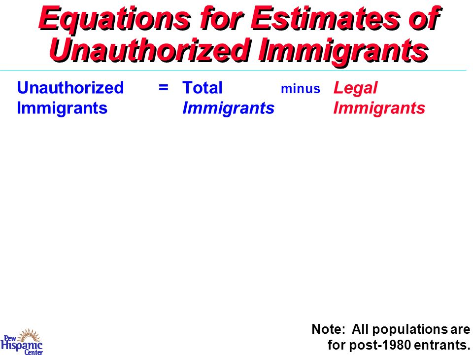 Equations for Estimates of Unauthorized Immigrants Unauthorized=Total minus Legal ImmigrantsImmigrantsImmigrants Less Estimated Undercount Note: All populations are for post-1980 entrants.