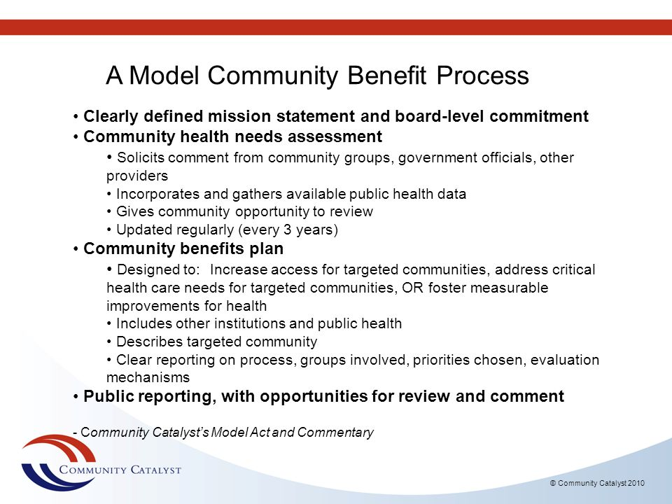 © Community Catalyst 2010 Local Options Research issues of medical debt in your community.