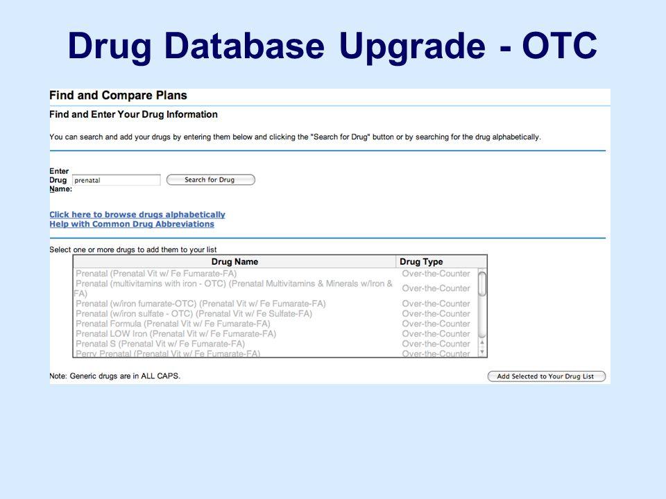 Drug Database Upgrade - OTC