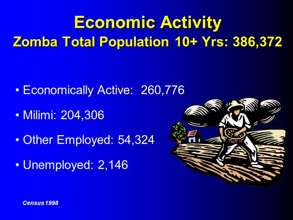 Economic Activity Zomba Total Population 10+ Yrs: 386,372 Economically Active: 260,776 Milimi: 204,306 Other Employed: 54,324 Unemployed: 2,146 Census