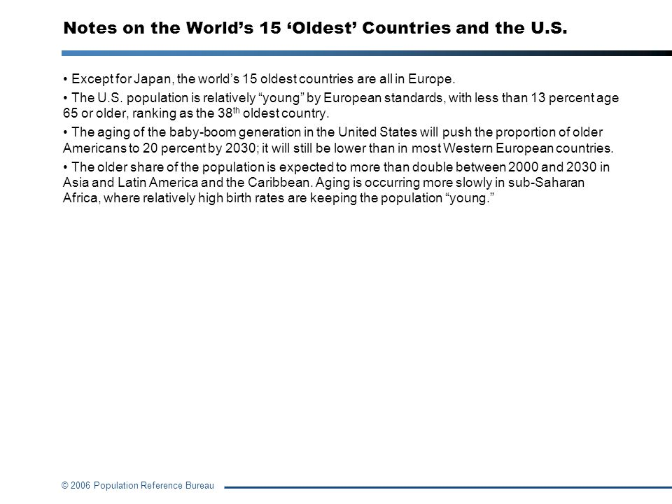 © 2006 Population Reference Bureau Notes on the Worlds 15 Oldest Countries and the U.S. Except for Japan, the worlds 15 oldest countries are all in Eu