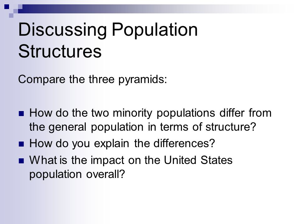Discussing Population Structures Compare the three pyramids: How do the two minority populations differ from the general population in terms of struct