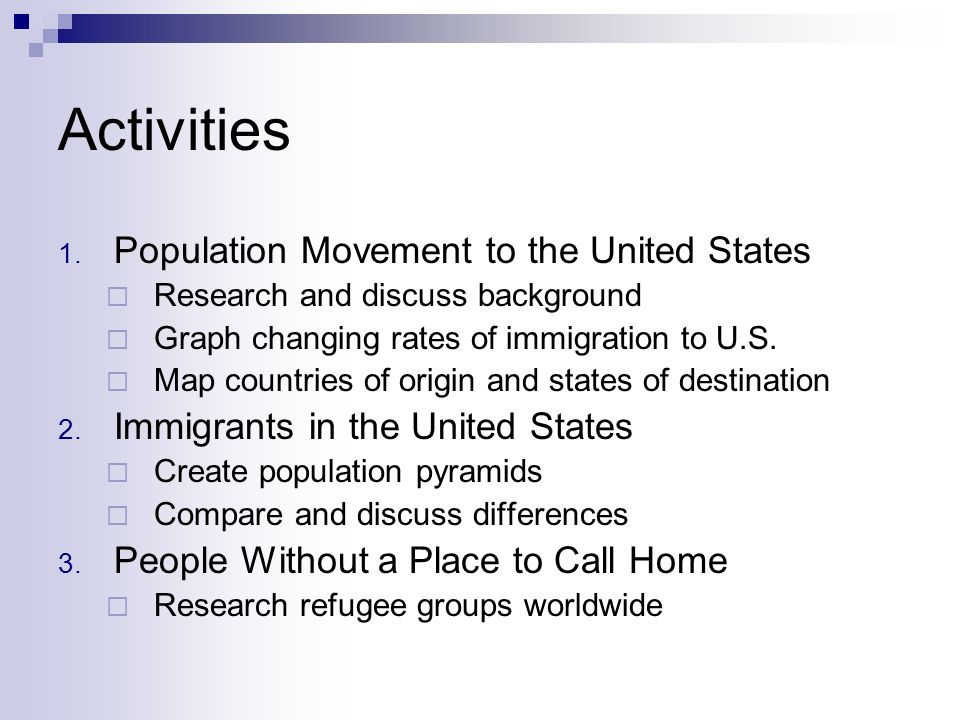Activities 1. Population Movement to the United States Research and discuss background Graph changing rates of immigration to U.S. Map countries of or