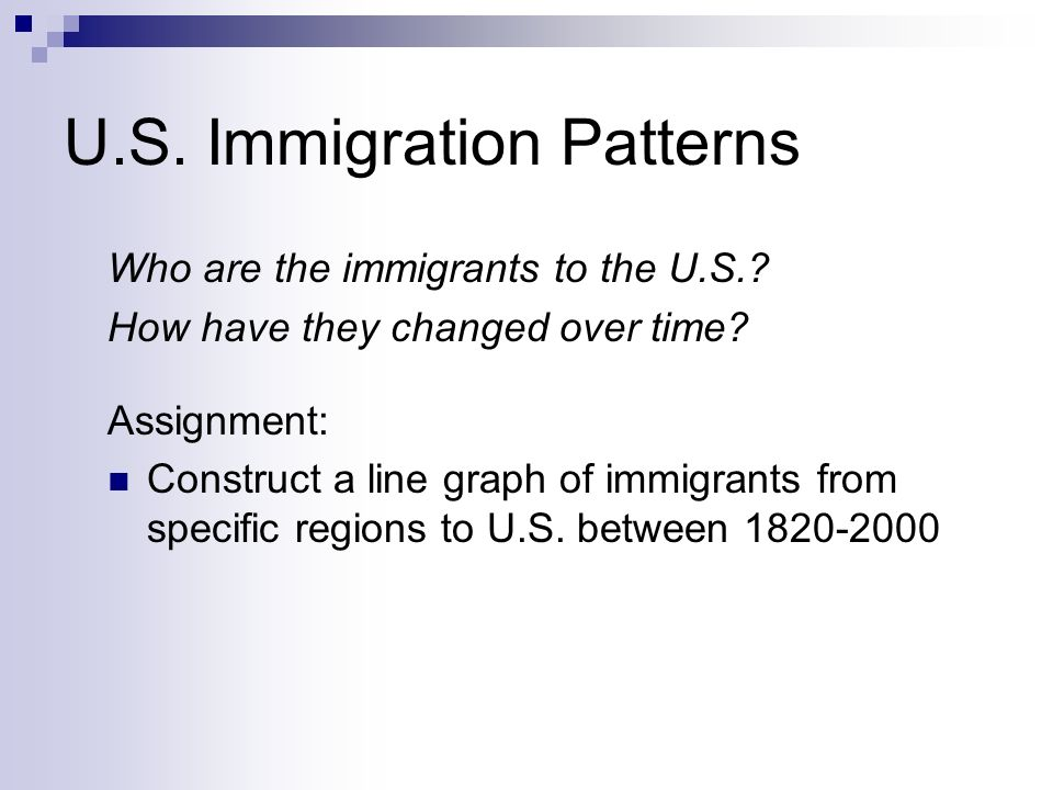 U.S. Immigration Patterns Who are the immigrants to the U.S.? How have they changed over time? Assignment: Construct a line graph of immigrants from s