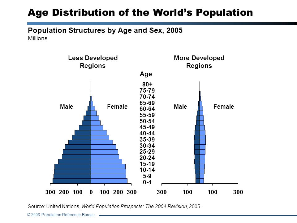 © 2006 Population Reference Bureau Population Structures by Age and Sex, 2005 Millions Less Developed Regions More Developed Regions MaleFemaleMaleFem