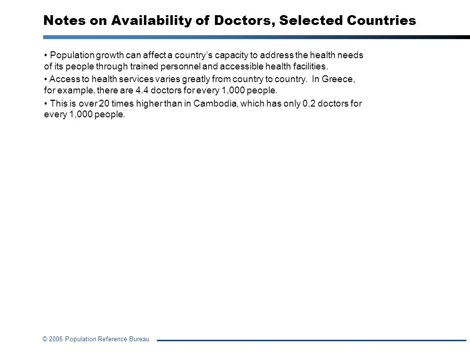 © 2006 Population Reference Bureau Notes on Availability of Doctors, Selected Countries Population growth can affect a countrys capacity to address th