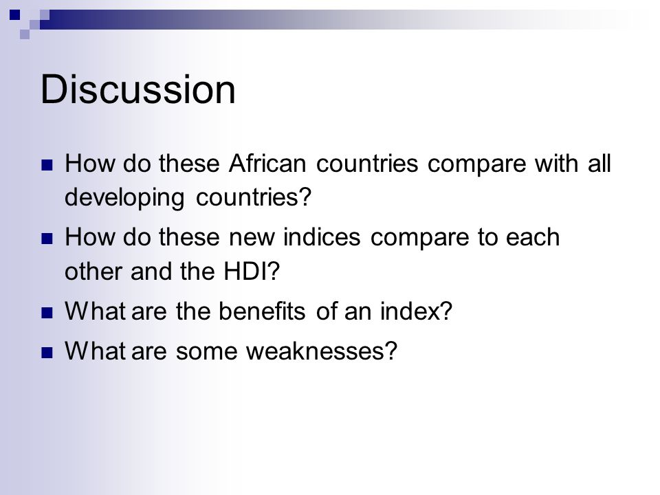 Discussion How do these African countries compare with all developing countries.
