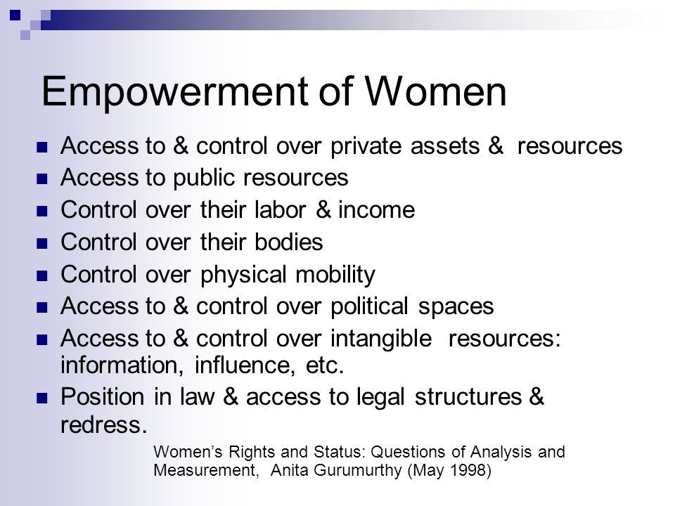 Empowerment of Women Access to & control over private assets & resources Access to public resources Control over their labor & income Control over their bodies Control over physical mobility Access to & control over political spaces Access to & control over intangible resources: information, influence, etc.
