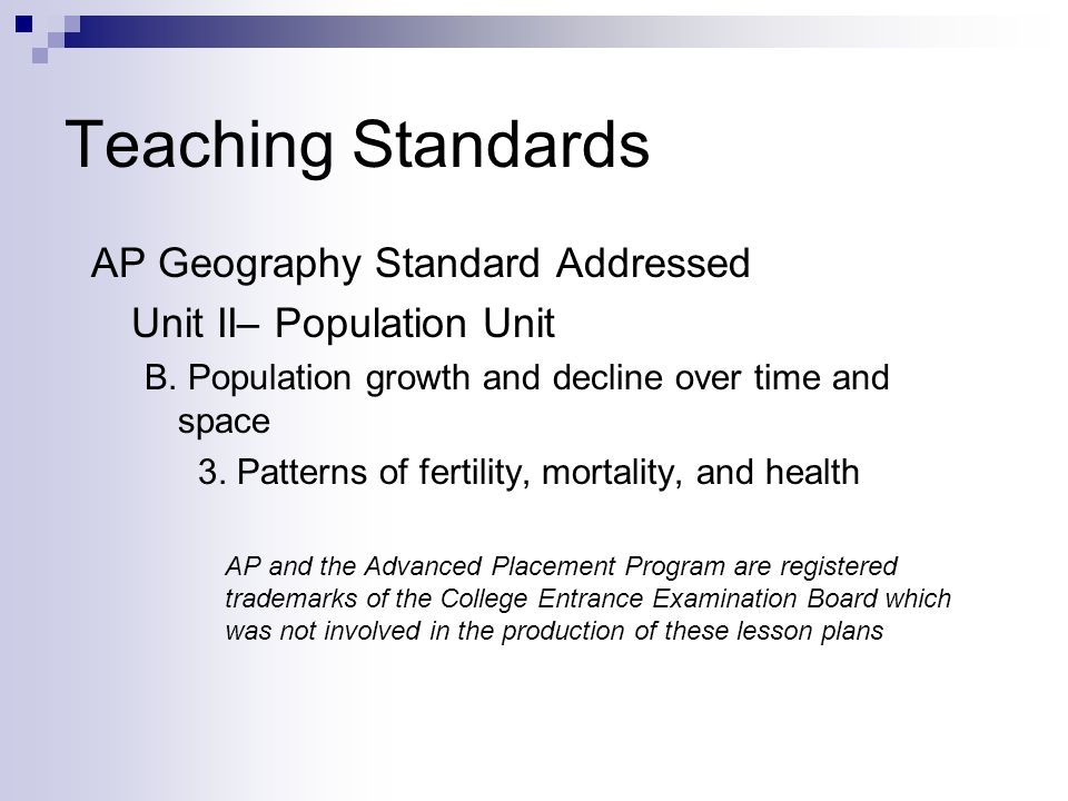 Teaching Standards AP Geography Standard Addressed Unit II– Population Unit B.