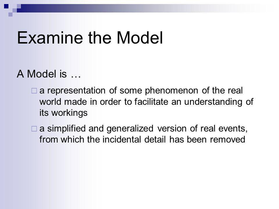 Examine the Model A Model is … a representation of some phenomenon of the real world made in order to facilitate an understanding of its workings a si