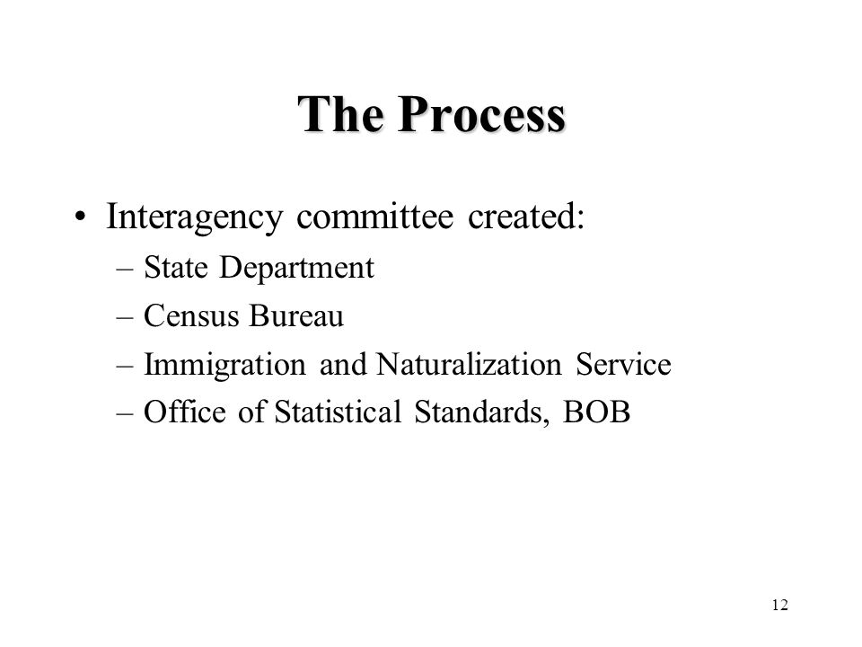 12 The Process Interagency committee created: –State Department –Census Bureau –Immigration and Naturalization Service –Office of Statistical Standards, BOB