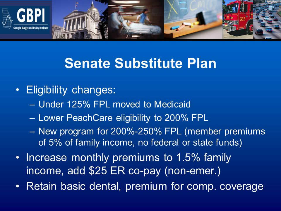 Senate Substitute Plan Eligibility changes: –Under 125% FPL moved to Medicaid –Lower PeachCare eligibility to 200% FPL –New program for 200%-250% FPL