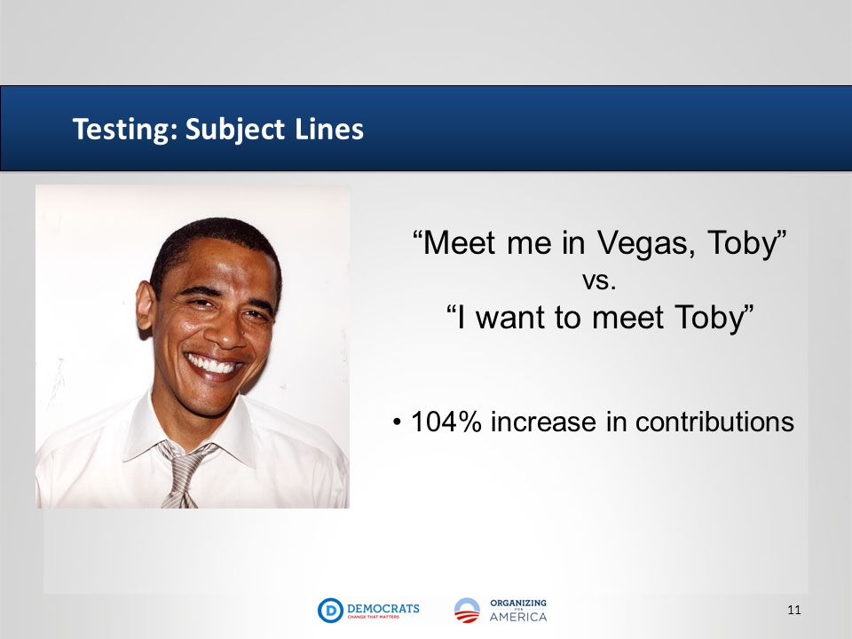 Testing: Subject Lines 11 Meet me in Vegas, Toby vs. I want to meet Toby 104% increase in contributions