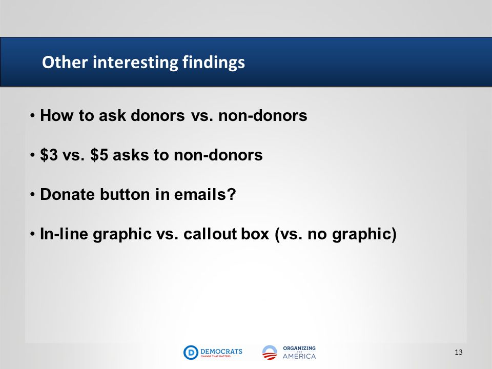 Other interesting findings 13 How to ask donors vs. non-donors $3 vs. $5 asks to non-donors Donate button in emails? In-line graphic vs. callout box (