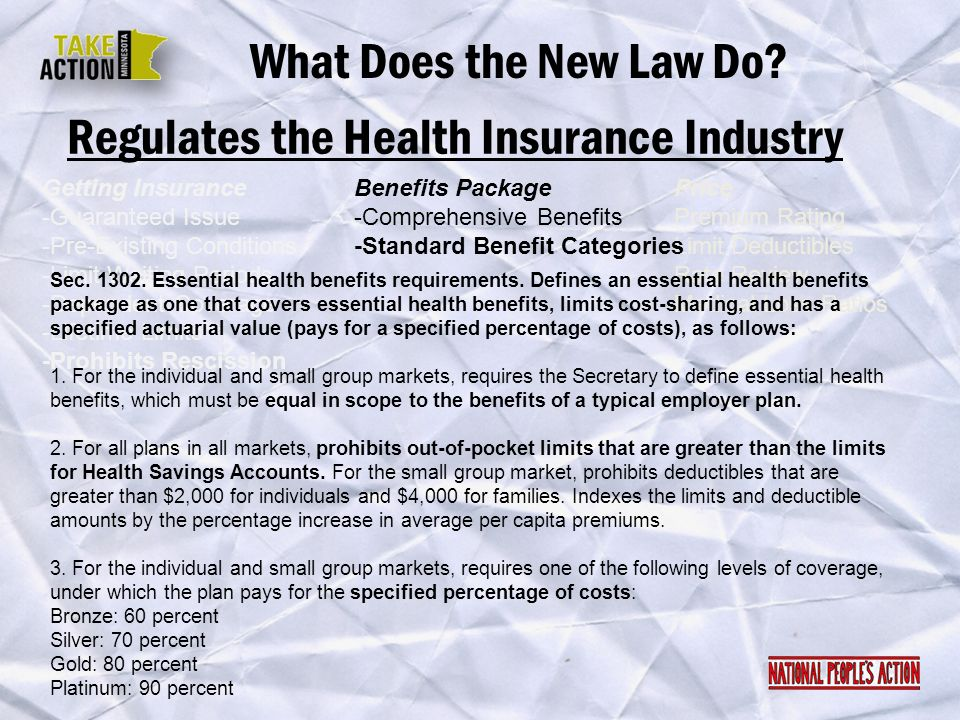 Regulates the Health Insurance Industry What Does the New Law Do? Getting Insurance -Guaranteed Issue -Pre-Existing Conditions -Limit Waiting Periods