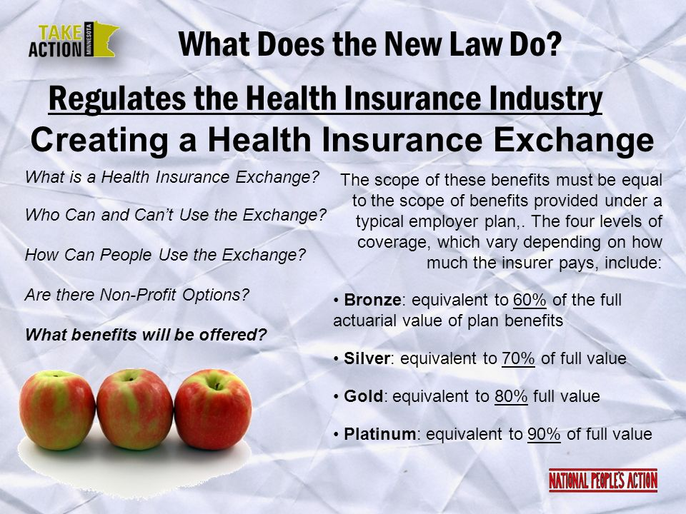 Regulates the Health Insurance Industry What Does the New Law Do? Creating a Health Insurance Exchange What is a Health Insurance Exchange? Are there
