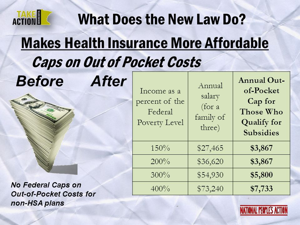 Makes Health Insurance More Affordable What Does the New Law Do? Before No Federal Caps on Out-of-Pocket Costs for non-HSA plans After Income as a per
