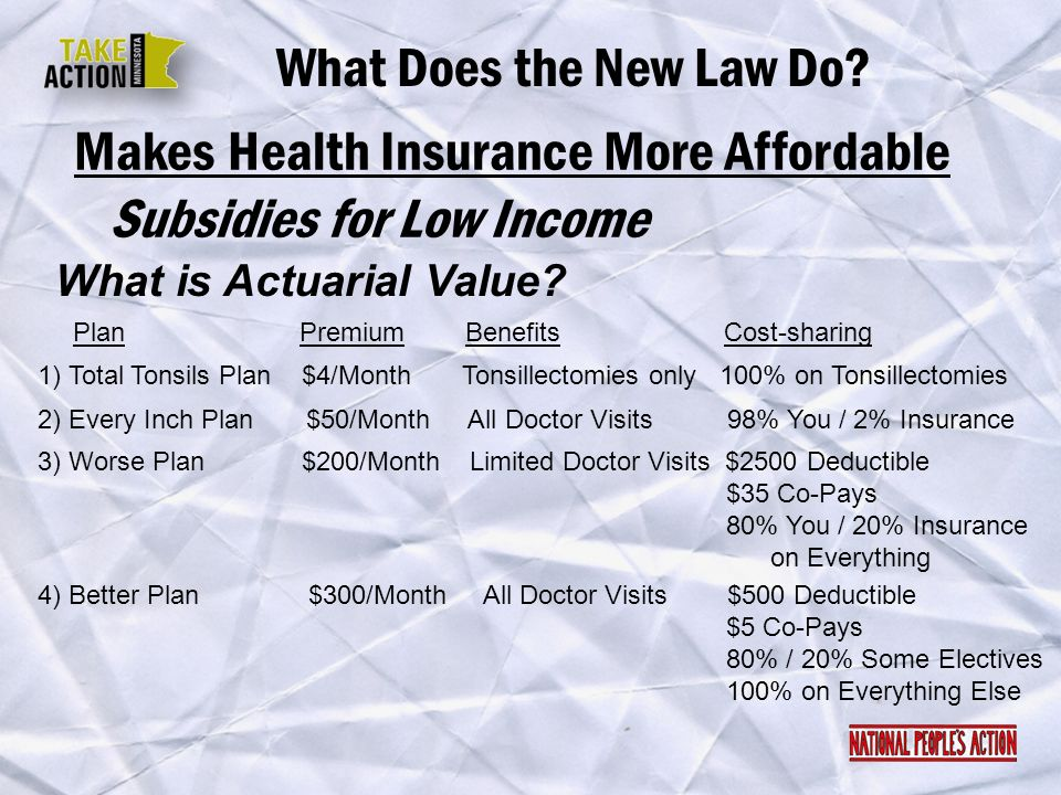 Makes Health Insurance More Affordable What Does the New Law Do? What is Actuarial Value? Subsidies for Low Income Plan Premium Benefits Cost-sharing