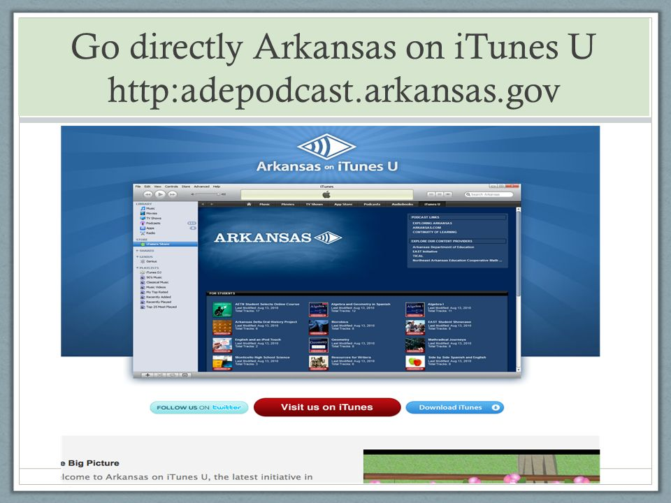 Go directly Arkansas on iTunes U