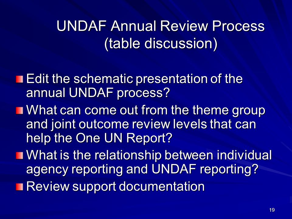 19 UNDAF Annual Review Process (table discussion) Edit the schematic presentation of the annual UNDAF process? What can come out from the theme group