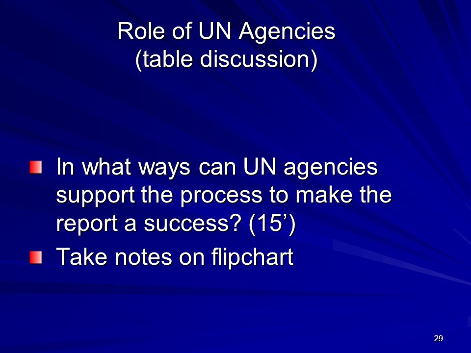 29 Role of UN Agencies (table discussion) In what ways can UN agencies support the process to make the report a success.