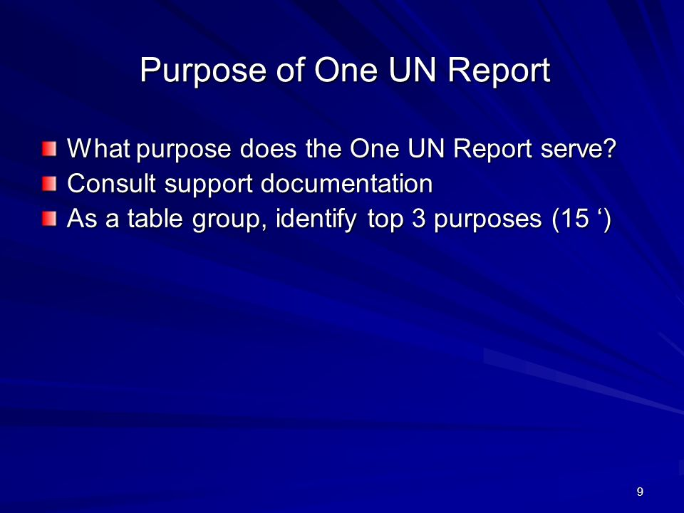 9 Purpose of One UN Report What purpose does the One UN Report serve.
