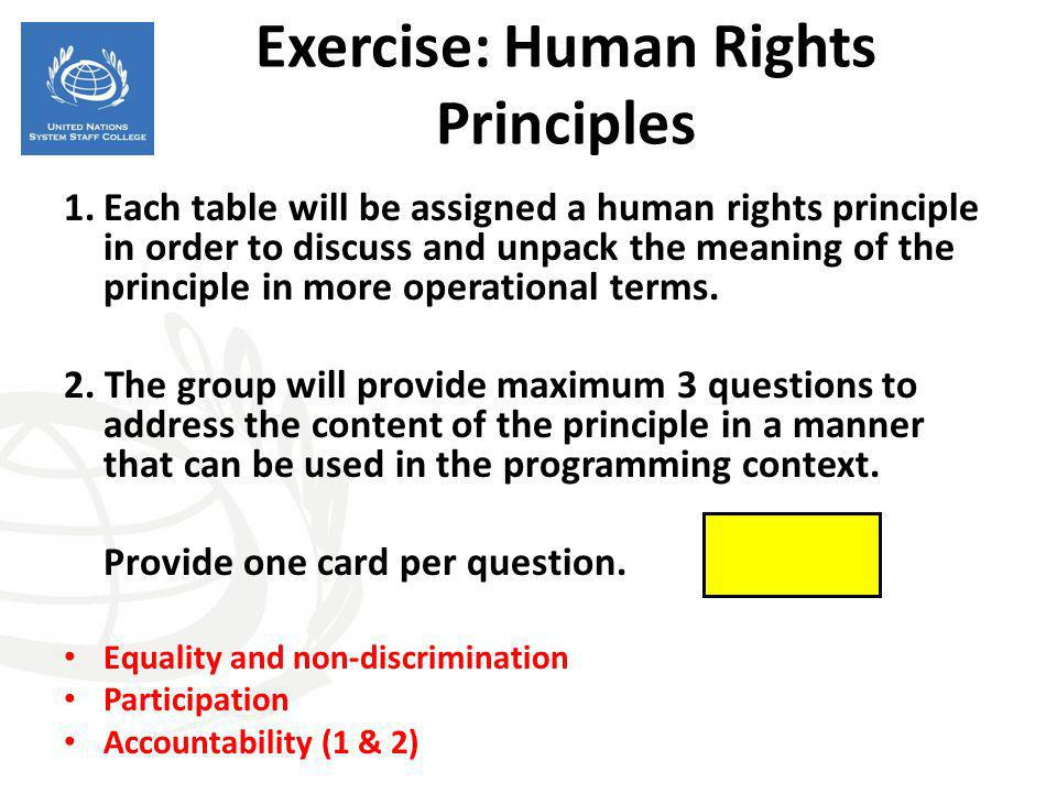 Exercise: Human Rights Principles 1.Each table will be assigned a human rights principle in order to discuss and unpack the meaning of the principle i