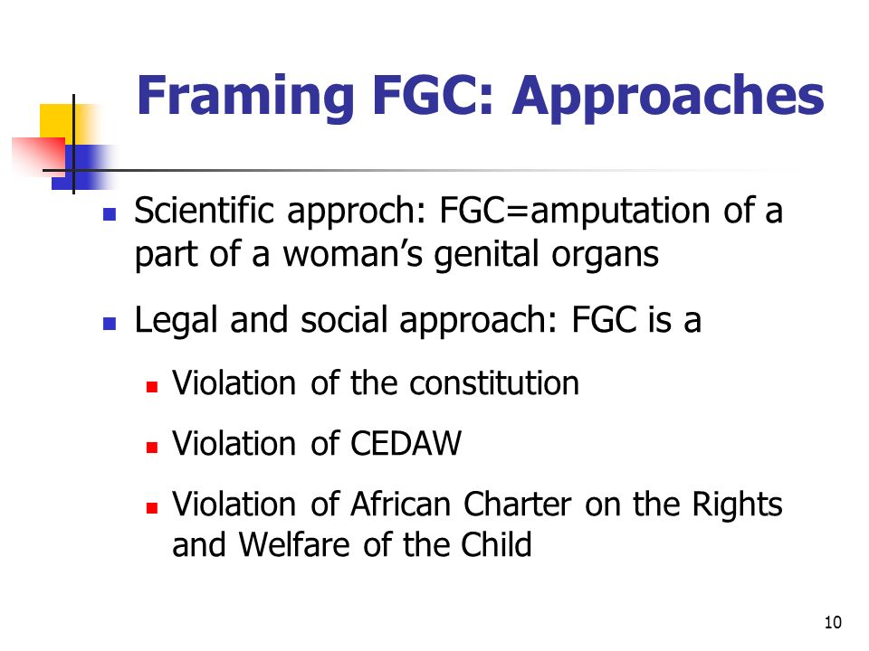 10 Framing FGC: Approaches Scientific approch: FGC=amputation of a part of a womans genital organs Legal and social approach: FGC is a Violation of the constitution Violation of CEDAW Violation of African Charter on the Rights and Welfare of the Child
