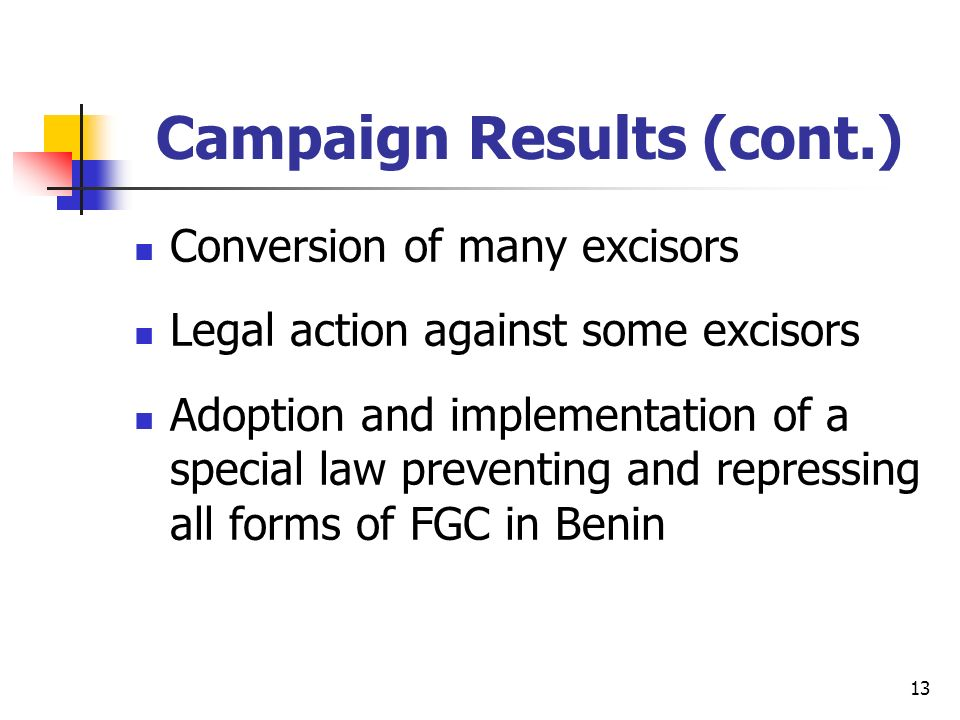 13 Campaign Results (cont.) Conversion of many excisors Legal action against some excisors Adoption and implementation of a special law preventing and repressing all forms of FGC in Benin